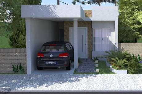 26. Fachada para casas pequenas simples e com garagem