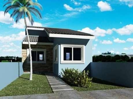 28. Fachada para casas pequenas em tons de azul