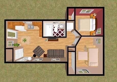 7. Modelo de casa pequena com dois quartos