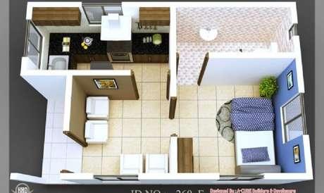 19 Modelo de casa pequena e simples com um quarto