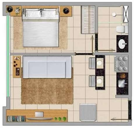 17. Modelo de casa pequena com cozinha americana