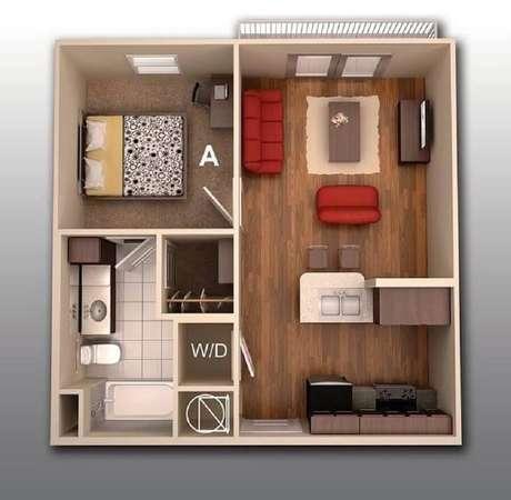 1. Plantas de casas pequenas com um quarto são ideais para uma família de até duas pessoas.