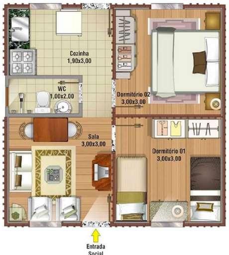 8. Modelo de planta de casa pequena com dois quartos