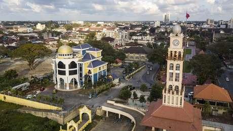 Vista aérea de Kota Bharu, capital do Estado de Kelantan