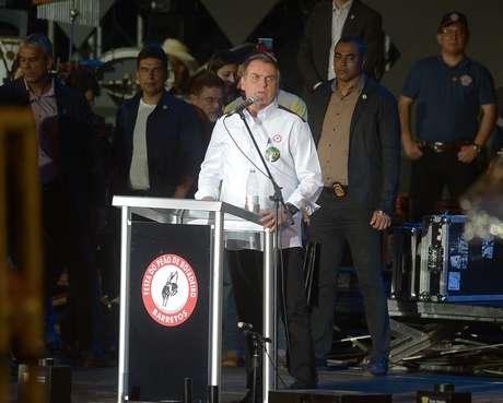 O presidente da República, Jair Bolsonaro, participa na noite deste sábado (17) da abertura do rodeio da 64ª Festa do Peão de Boiadeiro de Barretos, no interior de São Paulo.