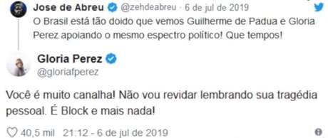 Gloria Perez e Zé de Abreu discutem no Twitter.