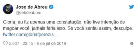 O ator Zé de Abreu pede desculpas para Gloria Perez após comentário no Twitter.