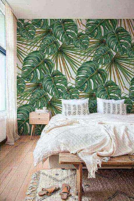 28. Papel de parede com desenho de Costela de Adão são muito populares. Foto: Homes Society