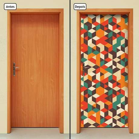Adesivo de porta conhe a os tipos e 42 modelos inspiradores for Mosaico adesivo 3d