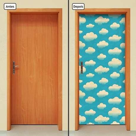 33. Estas nuvens fazem do adesivo de porta algo muito delicado. Foto: Elo7