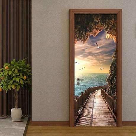 24. A ideia de paisagens é algo muito comum em adesivo de porta. Foto: Instagram