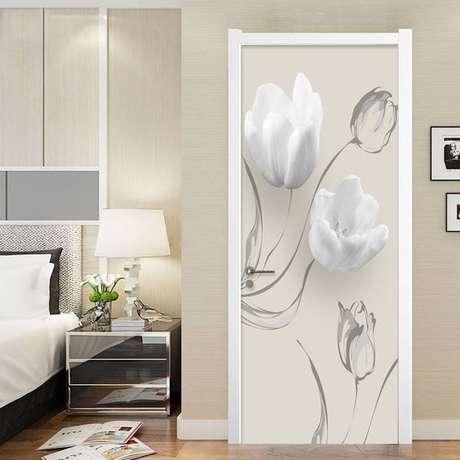 38. Flores são muito comuns em adesivo de porta. Foto: Ali Express