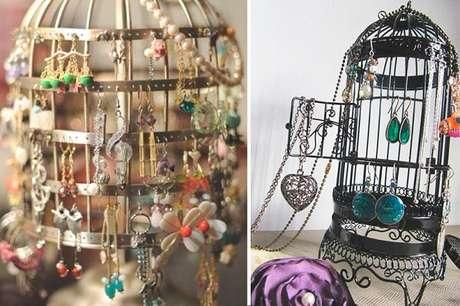 3. Organize suas bijuterias em gaiolas decorativas. Fonte: Blog Vida de Casa
