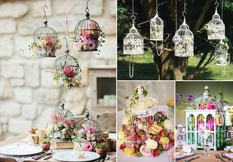 33. Gaiolas decorativas suspensas encantam a decoração do ambiente. Fonte: Joyce Kitamura