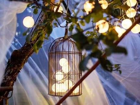 72. Gaiola decorativa com pisca pisca para festa noturna. Fonte: Pinterest