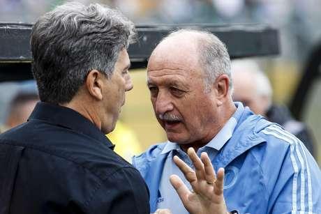 Renato Gaúcho, técnico do Grêmio, e Felipão, do Palmeiras