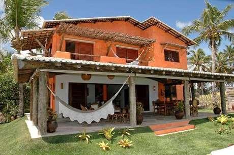 14. Pinturas de casas laranja para casa no campo – Por: Revista VD