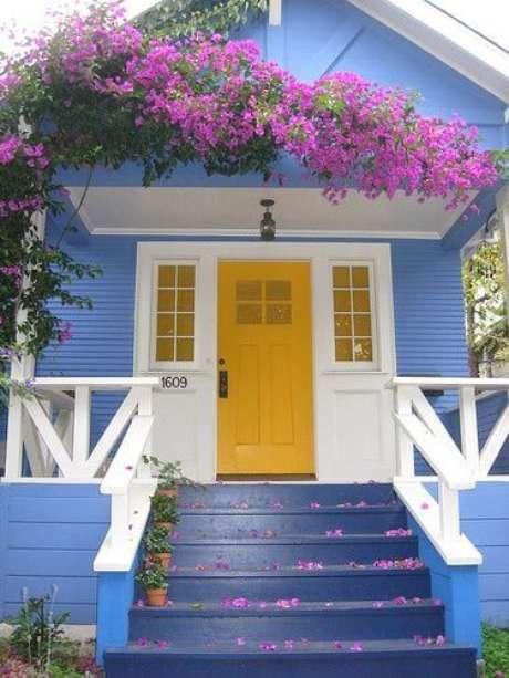 17. Pinturas de casas azul e amarelo – Por: Pinterest