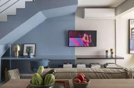 44. Pinturas de casas internas com azul e branco – Por: Tudo + um pouco