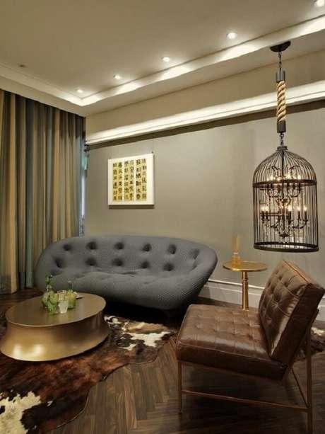 78. Gaiola para decoração de sala de estar imprimi sofisticação no ambiente. Fonte: Pinterest