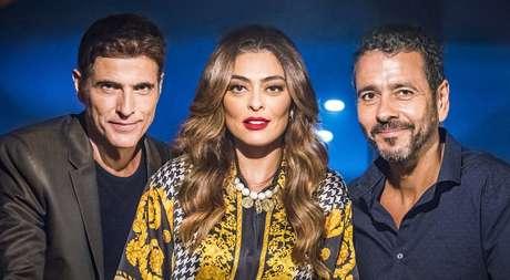 Maria da Paz (Juliana Paes) entre Régis (Reynaldo Gianecchini) e Amadeu (Marcos Palmeira): dramalhão já recuperou 4 pontos na média de audiência da faixa das 21h