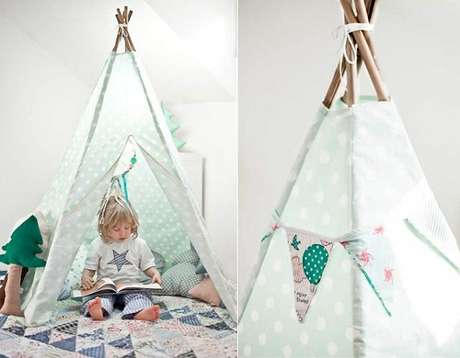 5. Cabaninha infantil feita com cabo de vassoura. Fonte: Pinterest