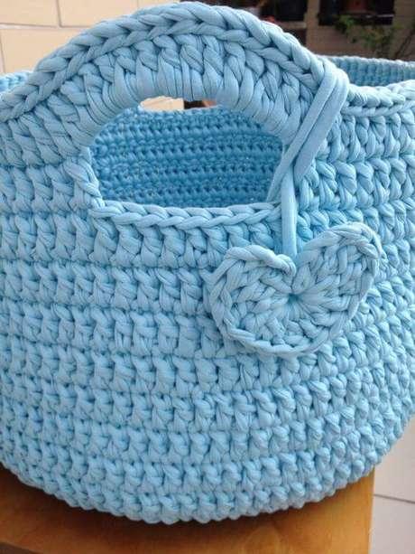 7. O cesto de crochê pode ter detalhes divertidos. Foto: Elo7