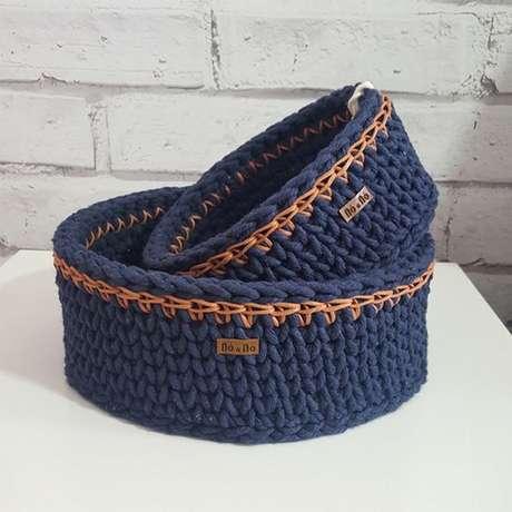 38. O cesto de crochê podem muito classudos. Foto: Elo7