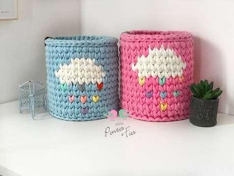 56. O cesto de crochê pode ser utilizado inclusive em festas. Foto: Ateliê Pontos e Fios