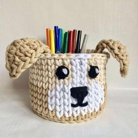 44. A funcionalidade de um cesto de crochê são muitas. Foto: Casa e Construção