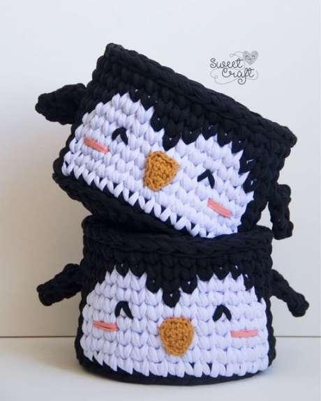 47. Mais um exemplo de como o tema escolhido para o cesto de crochê pode fazer toda a diferença. Foto: Casa e Construção