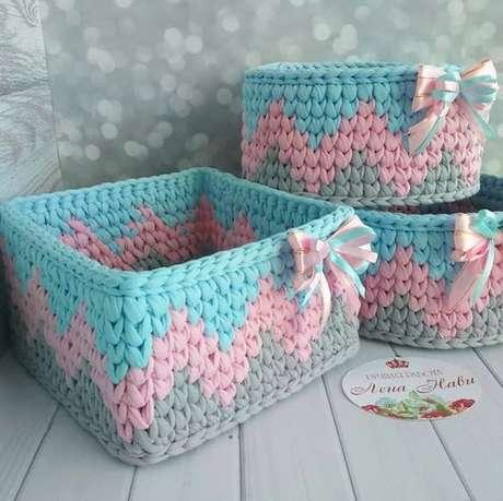 23. O cesto de crochê pode ser quase uma obra de arte. Foto: Criativo Ok