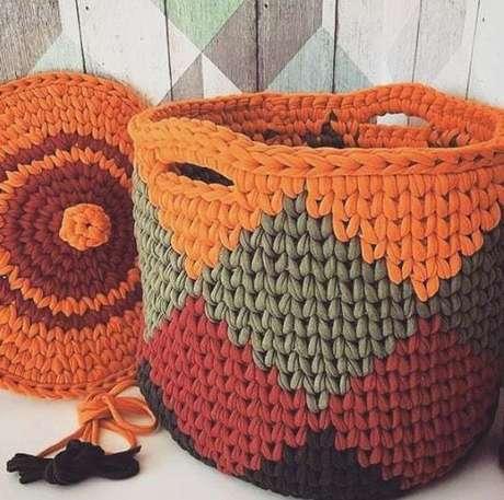 3. A funcionalidade e a estética se encontram no cesto de crochê. Foto: Crochê Todo Dia