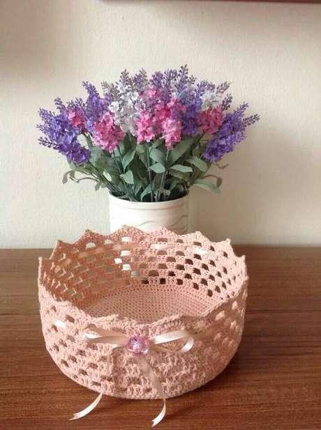6. O cesto de crochê pode servir como um recipiente para chaves. Foto: Pinterest