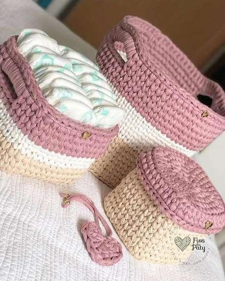 4. Existem muitos modelos de cesto de crochê. Foto: Crochê Mania