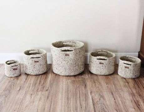 46. Este jogo de cesto de crochê é simples e funcional. Foto: Etsy