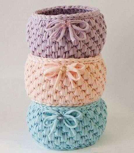 31. Os materiais utilizados são o que se destaca no cesto de crochê. Foto: De Frente Para o Mar