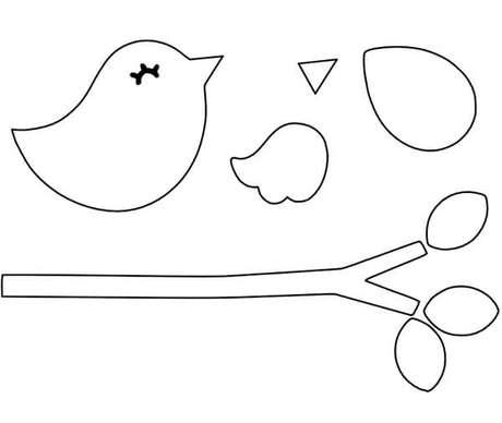 7. Molde de passarinho de feltro para artesanato – Por: Artesanato passo a passo