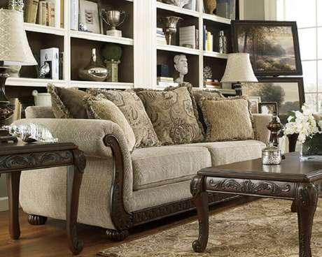 22. Tecido para sofá chenille seguindo o estilo vintage do ambiente. Fonte: Pinterest