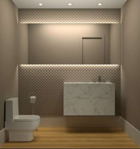 11. Um banheiro pode ganhar muito com a cor fendi. Foto: JOMO Decor
