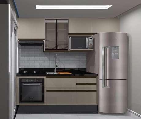 25. Uma cozinha pode ficar bem simples com a cor fendi. Foto: Barauna Arquitetura