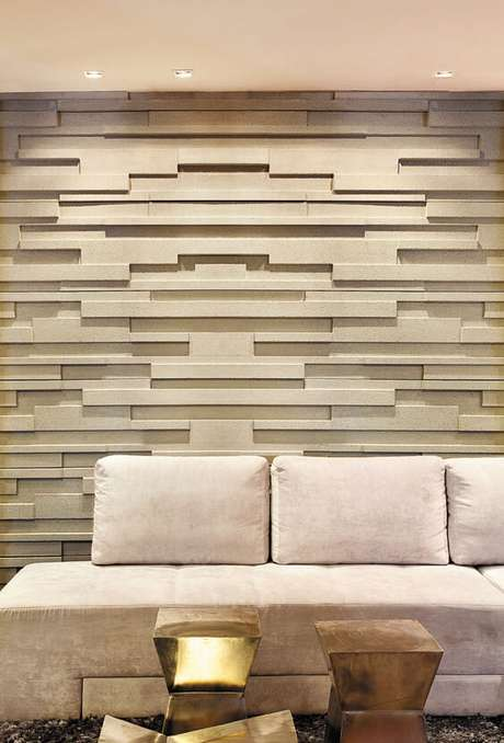 62. A cor fendi pode ser o alento de delicadeza a algo muito chamativo, como por exemplo esta parede de gesso 3D. Foto: Castelatto