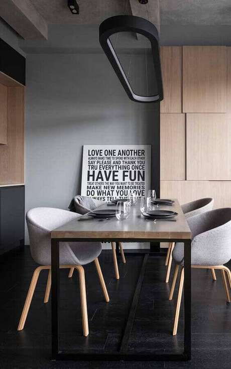 29. Quadros decorativos com frases para sala de jantar moderna – Foto: Wood Save