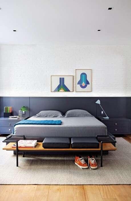 51. Quadros decorativos para quarto minimalista azul e branco – Foto: Pinosy