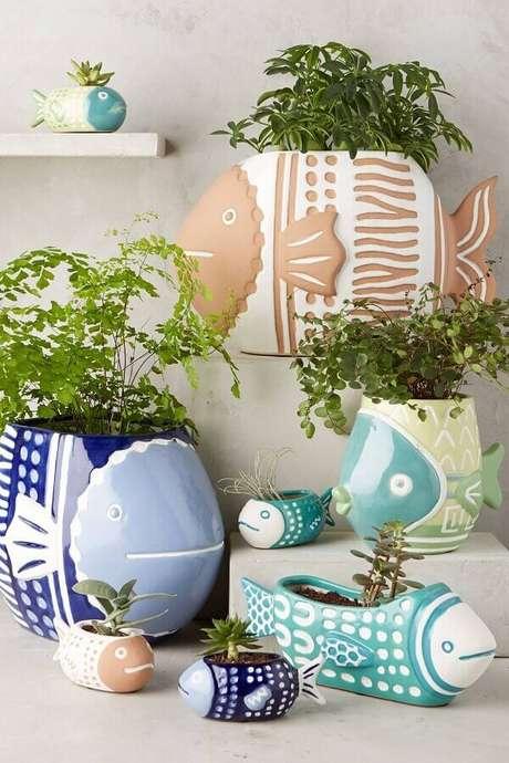 74. Divertidos vasos decorativos em formatos de peixe – Foto: Pinterest