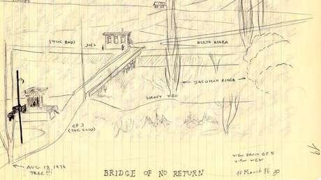 Um esboço do soldado Mike Bilbo mostra a ponte que separa a Coreia do Norte e a Coreia do Sul, com a árvore no canto inferior esquerdo