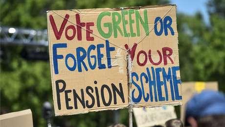 Tanto ativistas ambientais quanto investidores estão olhando para o longo prazo. Cartaz diz: 'Vote pela sustentabilidade ou esqueça sua aposentadoria'