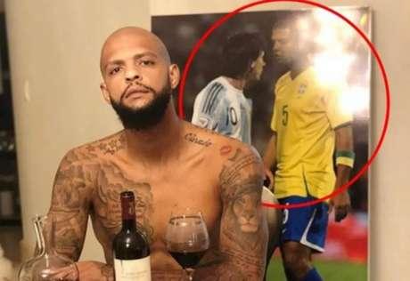 Imagem postada por Felipe Melo em 2018. Desde então, argentinos 'perseguem' o jogador (Reprodução/Twitter)