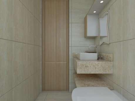 28. Banheiro com porta de duas folhas. Projeto de Barbara Silva