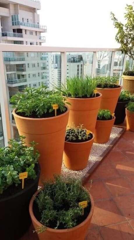 44. Horta em casa em vasos de cerâmica. Foto de Roofing Brooklyn